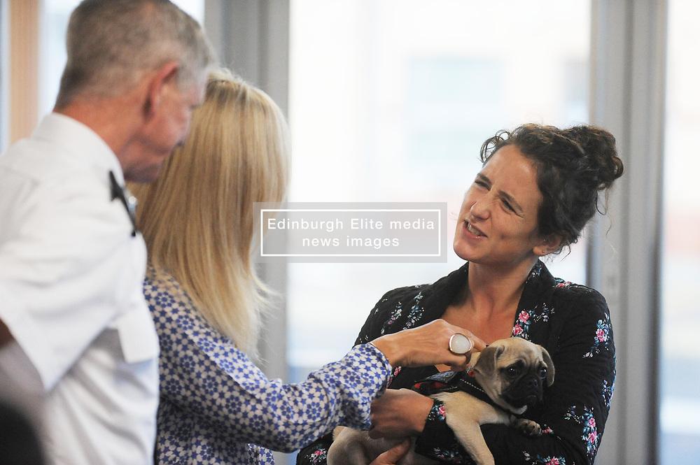 Chief Super Intendent Mike Flynn, Kirsteen Campbell,  Mairi Gougeon MSP with Bella the Pug<br /> <br /> (c) David Wardle | Edinburgh Elite media