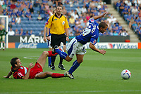 Photo: Kevin Poolman.<br />Leicester City v Colchester United. Coca Cola Championship. 23/09/2006. James Wesolowski (Leicester) is tripped by Karl Duguid (Colchester).