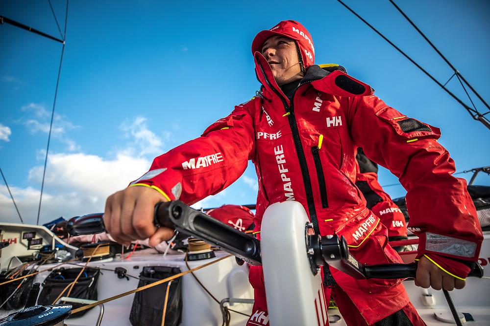 Leg 02, Lisbon to Cape Town, day 19, on board MAPFRE, Tamara Echegoyen grinding at the aft pedestal. Photo by Ugo Fonolla/Volvo Ocean Race. 23 November, 2017