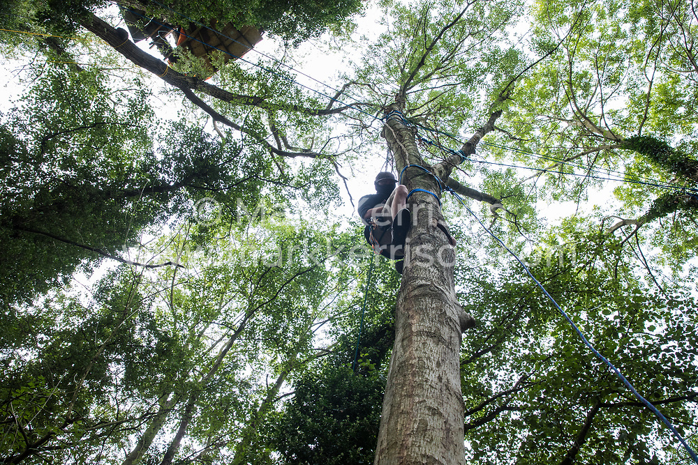 A tree protector from HS2 Rebellion climbs a tree at Denham Protection Camp on 11 September 2020 in Denham, United Kingdom. Anti-HS2 activists continue to try to prevent or delay works on the controversial £106bn HS2 high-speed rail link from a series of such protection camps based along the route of the line between London and Birmingham.
