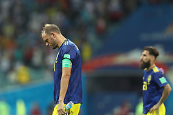 SOCHI, June 23, 2018  Andreas Granqvist (L) of Sweden reacts after the 2018 FIFA World Cup Group F match between Germany and Sweden in Sochi, Russia, June 23, 2018. Germany won 2-1. (Credit Image: © Fei Maohua/Xinhua via ZUMA Wire)