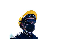 Jockey Rob Hornby wears a face mask in line with Coronavirus guidelines - Mandatory by-line: Robbie Stephenson/JMP - 25/06/2020 - HORSE RACING - Bath Racecoure - Bath, England - Bath Races 25/06/20