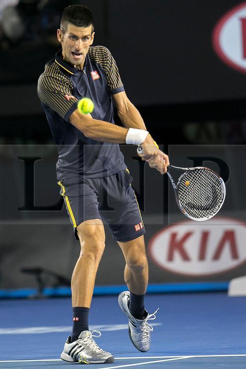 © Licensed to London News Pictures. 27/01/2013. Melbourne Park, Australia. Novak Djokovic during the Mens Final between Novak Djokovic and Andy Murray of the Australian Open. Photo credit : Asanka Brendon Ratnayake/LNP