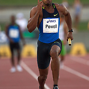Asafa Powell brings the Jamaican 4x100m Relay team home as they win in a time of 38.62 at the Sydney Track Classic 2009 held at Sydney Olympic Park Athletics Centre, Sydney, Australia on February 28, 2009.  Photo Tim Clayton