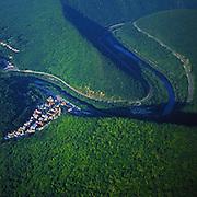Aerial, PA landscapes, Lehigh River Gorge, Jim Thorpe, NE PA Aerial Photograph Pennsylvania