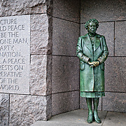 Statue of Eleanor Roosevelt with United Nations insignia at the Franklin D. Roosevelt Memorial in Washington DC on Haines Point on the banks of the Tidal Basin