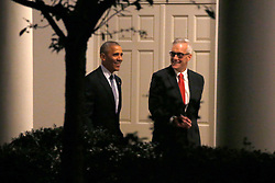 November 14, 2016 - Washington, District of Columbia, United States of America - US President Barack Obama (L) walks on the colonnade with White House Chief of Staff Denis McDonough (R) prior to his departure aboard Marine One on the South Lawn of the White House in Washington, DC, USA, 14 November 2016. President Obama is traveling overseas to Greece, Germany and Peru..Credit: Shawn Thew / Pool via CNP (Credit Image: © Shawn Thew/CNP via ZUMA Wire)