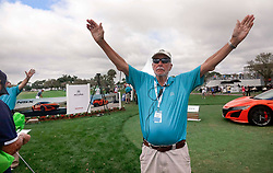 February 28, 2019 - Florida, U.S. - A course marshal signals for quiet during the first round of The Honda Classic Thursday, February 28, 2019 at the PGA National Resort & Spa in Palm Beach Gardens. (Credit Image: © Bruce R. Bennett/The Palm Beach Post via ZUMA Wire)
