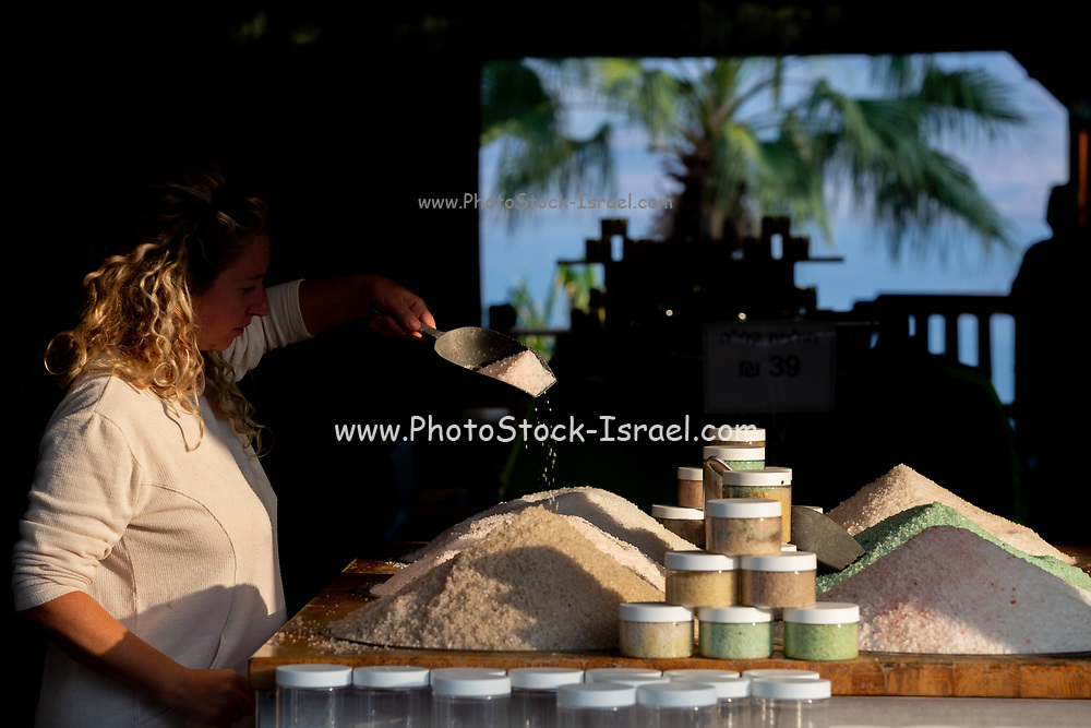 Piles of Dead Sea minerals and salts on display at Kalya Beach, Dead Sea, Israel Model release available