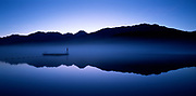Alta Lake with dock before sunrise in blue