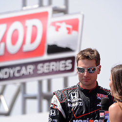 8 August, 2010; Team Penske's WILL POWER is interviewed during driver introductions for the Izod IndyCar Series Honda Indy 200 at the Mid-Ohio Sports Car Course in Lexington, Ohio. Power finished second in the race..Mandatory Credit: Will Schneekloth / Southcreek Global