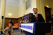 Shadow Education Secretary Ed Balls speaks at a rally and protest about the proposed cuts in the building of Schools at Methodist Hall, Westminster, London.