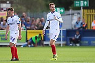 Portsmouth midfielder Tom Naylor (7) celebrating after scoring goal to make it 1-0 during the EFL Sky Bet League 1 match between AFC Wimbledon and Portsmouth at the Cherry Red Records Stadium, Kingston, England on 13 October 2018.