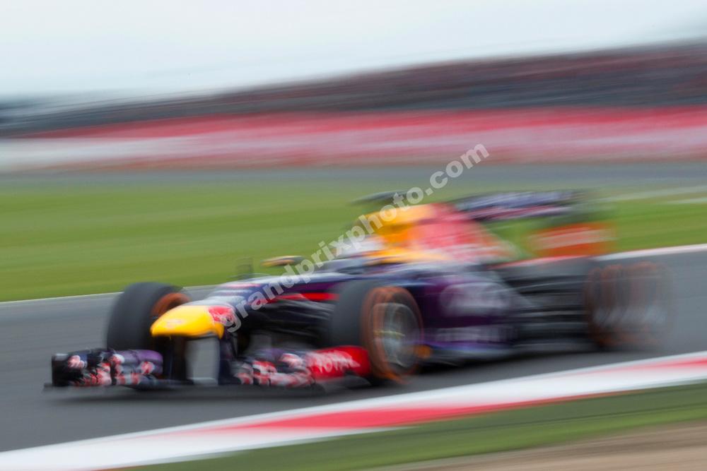 Sebastian Vettel (Red Bull-Renault) during practice before the 2013 British Grand Prix in Silverstone. Photo: Grand Prix Photo