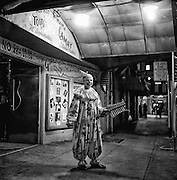 Clown at a Barbary Coast strip club in San Francisco