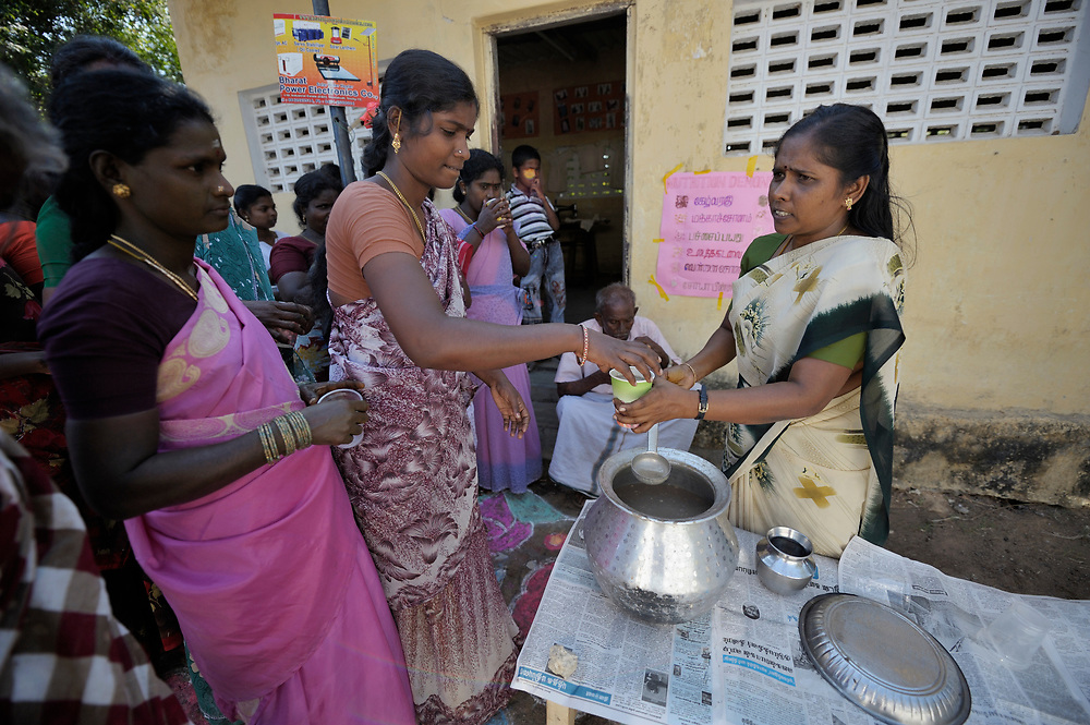 Women participate in a class on nutrition in the village of Noocampalayam in the southern India state of Tamil Nadu.
