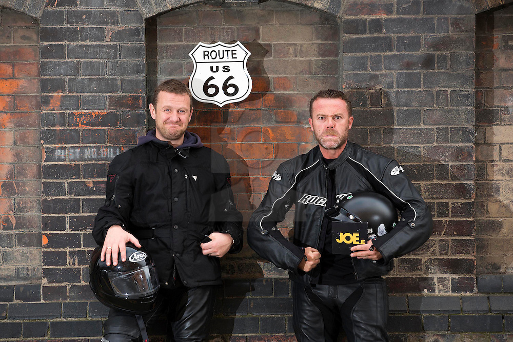 Repro Free: 16/09/2014 <br /> Irish comedians PJ Gallagher and Eric Lalor are pictured as they prepair to join over 60 motorcyclists from all over Ireland and depart on September 21st from Dublin for Chicago where they will begin their 2,444 mile journey across America, riding up Sunset Boulevard 12 days later. Now, in its 7th year, Irish comedians PJ Gallagher and Joe.ie writer Eric Lalor will leather up and take on the mother of all mother roads to help this group raise over €250,000 for sick kids in Ireland.  This is a bi-annual trip and it has been running since 2002. It sees Temple Street's big-hearted bikers travel through 9 states and 4 different time zones; from Illinois through Missouri, Oklahoma, Kansas, Texas, New Mexico, Arizona, Nevada and finally California. As they ride this wonderful road, always on their minds are the brave little patients in Temple Street that urgently need the best possible care that can be given to them. Picture Andres Poveda