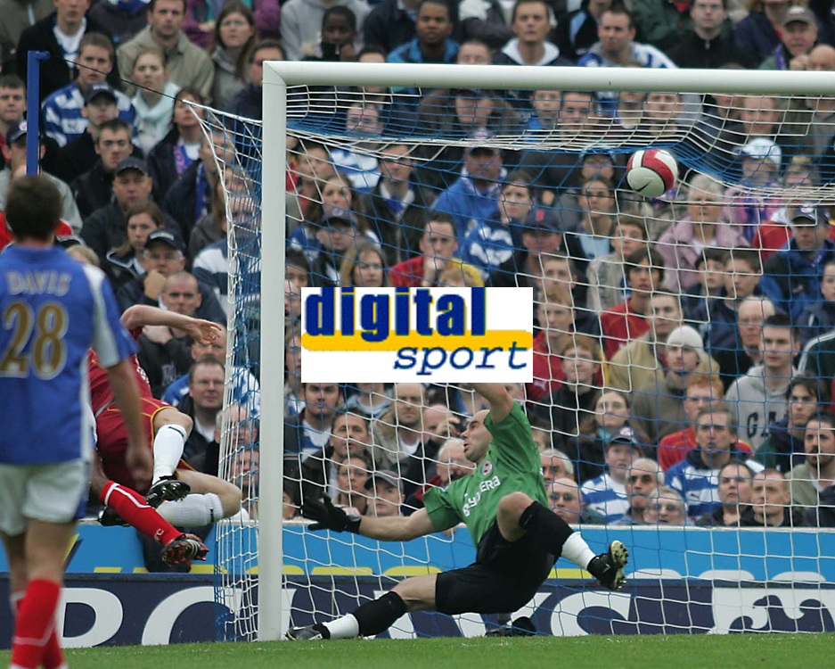 Photo: Lee Earle.<br /> Portsmouth v Reading. The Barclays Premiership. 28/10/2006. Reading keeper Marcus Hahnemann is beaten by Bryjar Gunarsson's (L) own goal.