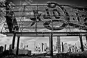 View of the Manhattan skyline behind the Pepsi Cola billboard in Long Island City, Queens, New York, 2009.