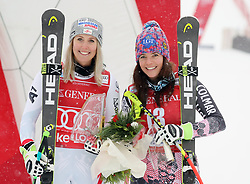 01.12.2017, Lake Louise, CAN, FIS Weltcup Ski Alpin, Lake Louise, Abfahrt, Damen, Siegerehrung, im Bild v.l.: Siegerin Cornelia Huetter (AUT), Tina Weirather (LIE, 2. Platz) // Winner Cornelia Huetter of Austria, 2nd placed Tina Weirather of Liechtenstein during the winner Ceremony for the ladie's downhill of FIS Ski Alpine World Cup in Lake Louise, Canada on 2017/12/01. EXPA Pictures © 2017, PhotoCredit: EXPA/ SM<br /> <br /> *****ATTENTION - OUT of GER*****