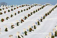 65095-03111 Wreaths on graves in winter Jefferson Barracks National Cemetery St. Louis,  MO