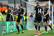 Craig Dawson of West Bromwich Albion (l) celebrates with his teammates after scoring his teams 2nd goal to make it 1-2. Premier League match, Burnley v West Bromwich Albion at Turf Moor in Burnley , Lancs on Saturday 6th May 2017.<br /> pic by Chris Stading, Andrew Orchard sports photography.