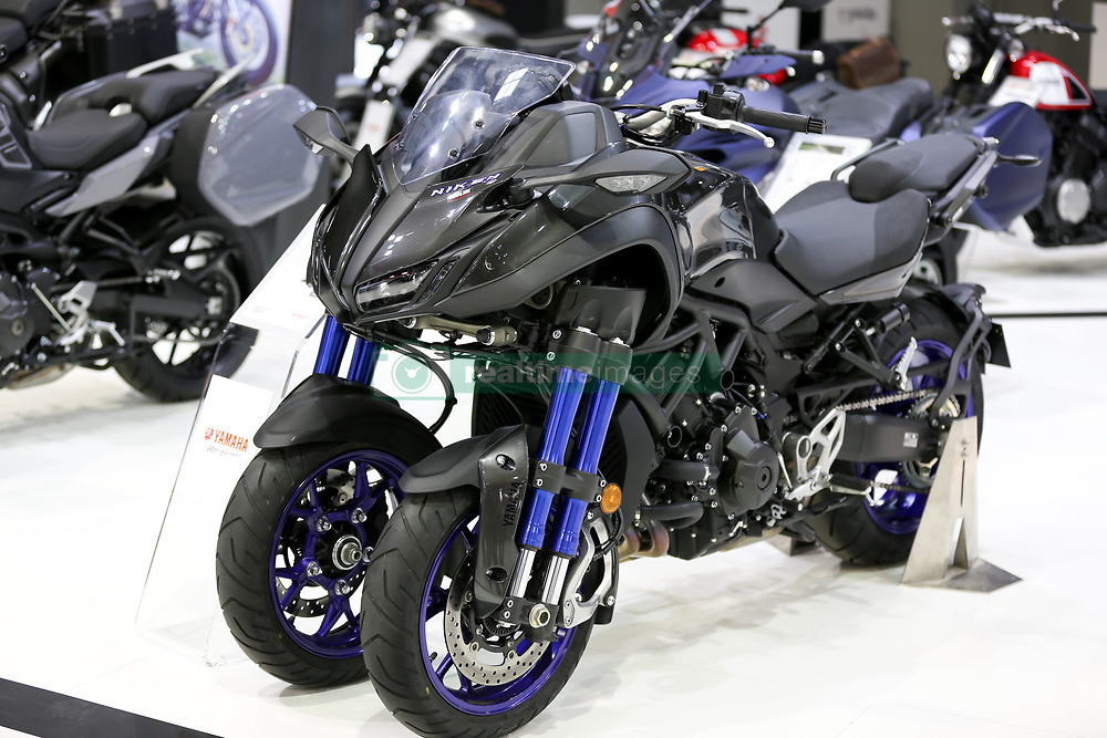 October 3, 2018 - Paris, France - Yamaha Niken new three-heelers model is seen during the second day of the Paris Motor Show at Paris Expo Porte de Versailles on October 03, 2018 in Paris, France. The Niken is a full blown motorcycle featuring an 847cc engine that delivers 84.6 kW of power that can't be ridden with a car licence. (Credit Image: © Michel Stoupak/NurPhoto/ZUMA Press)