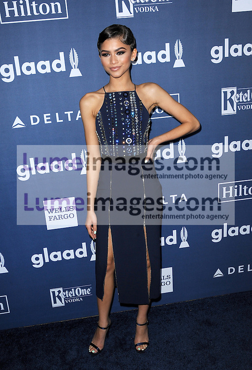 Zendaya Coleman at the 27th Annual GLAAD Media Awards held at the Beverly Hilton Hotel in Beverly Hills, USA on April 2, 2016.
