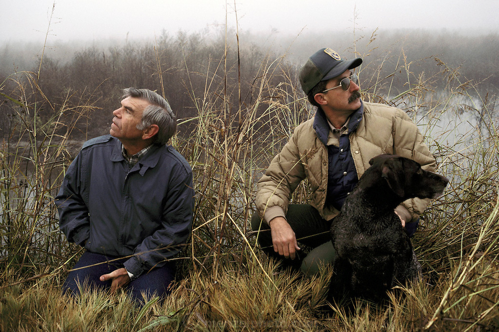 Roger Moore with Charles Jensen and his dog at Butte Sink Wildlife Refuge, Northern California. MODEL RELEASED.