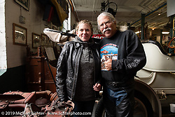Cannonballers Doc Hopkins with his daughter Kerstin Heling in Hemmings Museum during the Motorcycle Cannonball coast to coast vintage run. Stage-2 (251-miles) from Keene, NH to Binghampton, NY. Sunday September 9, 2018. Photography ©2018 Michael Lichter.