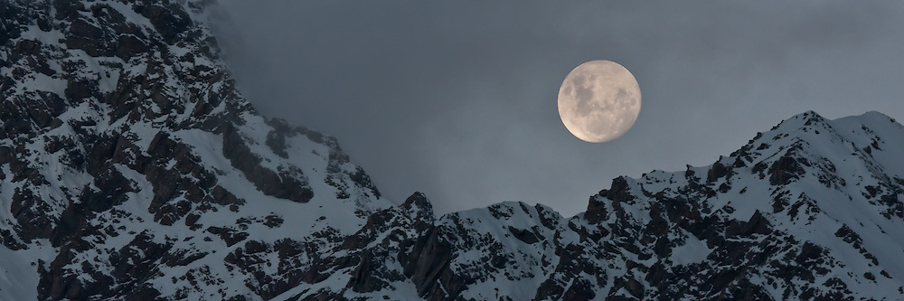 Full moon on a winter night at Mount Cook, New Zealand (8x24 inch print)