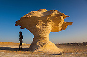 "Sam McConnell stands next to Aish el-Ghorab ""The Mushrooms"", chalk sculptures, Sahara Beida (White Desert), Egypt"