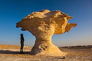 "Sam McConnell stands next to Aish el-Ghorab ""The Mushrooms"", chalk sculptures, Sahara Beida (White Desert), Egypt"