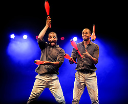 Pictured: Bibi and Bichu Tesfamariam from Circus Abyssinia (Ethiopia)<br /> <br /> Performers from across the globe came together at the Edinburgh Festival to mark the 250th anniversary of circus performances.<br /> <br /> © Dave Johnston / EEm