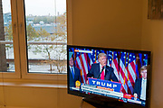 President Elect Donald Trump makes his acceptance speech on the morning after the US Presidential Elections in 2016, as seen on BBC television from a home in London, England, United Kingdom. (photo by Mike Kemp/In Pictures via Getty Images)