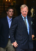 © Licensed to London News Pictures. 15/04/2013. London, UK. Michael Thatcher and Sir Mark Thatcher leave Baroness Thatcher's former home in London. Photo credit : Stephen Simpson/LNP