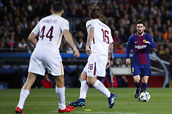 April 4, 2018 - Barcelona, Catalonia, Spain - April 4, 2018 - Barcelona, Spain - Uefa Champions League Quarter final first leg, FC Barcelona v AS Roma: Leo Messi of FC Barcelona dribbles Daniele De Rossi of Roma. (Credit Image: © Marc Dominguez via ZUMA Wire)