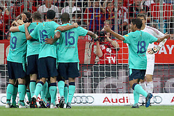 27.07.2011, Allianz Arena, Muenchen, GER, Audi Cup 2011, Finale,  FC Barcelona vs FC Bayern , im Bild Jubel nach dem 1-0   // during the Audi Cup 2011,  FC Barcelona vs FC Bayern  , on 2011/07/27, Allianz Arena, Munich, Germany, EXPA Pictures © 2011, PhotoCredit: EXPA/ nph/  Straubmeier       ****** out of GER / CRO  / BEL ******
