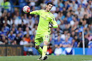 Goalkeeper Thibaut Courtois of Chelsea in action.. Barclays Premier league match, Chelsea v Leicester city at Stamford Bridge in London on Sunday 15th May 2016.<br /> pic by John Patrick Fletcher, Andrew Orchard sports photography.