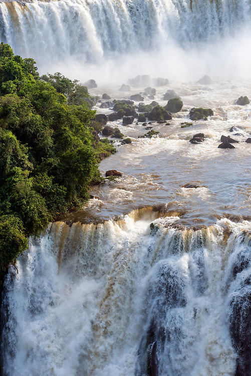 Iguazu Falls, Brazil - March 26, 2019: View from the Brazilian side of Iguazu Falls, which is shared with Argentina.