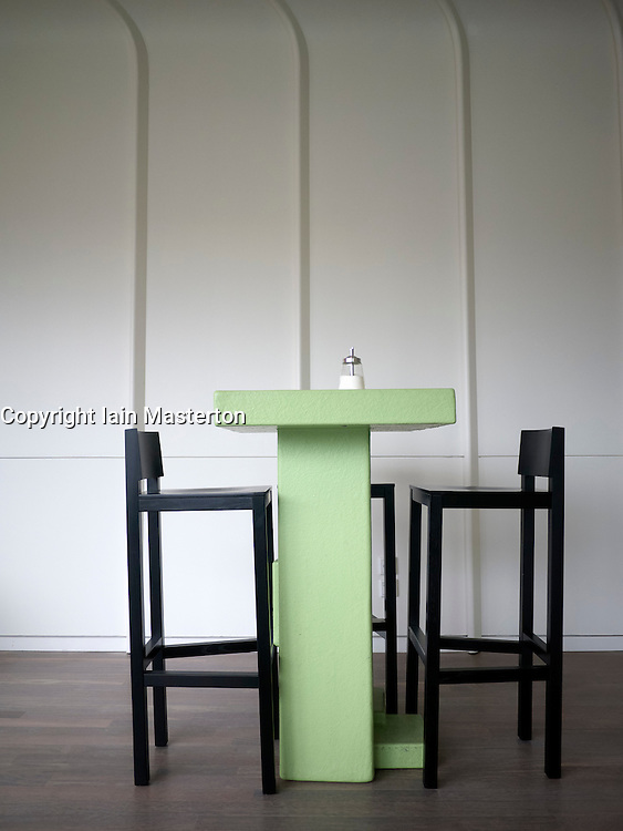 Table and chairs at cafe in K20 art museum  or Kunstsammlung at Grabbeplatz Dusseldorf Germany