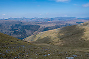 Stunning mountain range of Lake District National Park from western side of Helvellyn mountain, Lake District, Cumbria, UK. Thirlmere reservoir is at the bottom of the valley and flanked Wythburn and Armboth Fells.