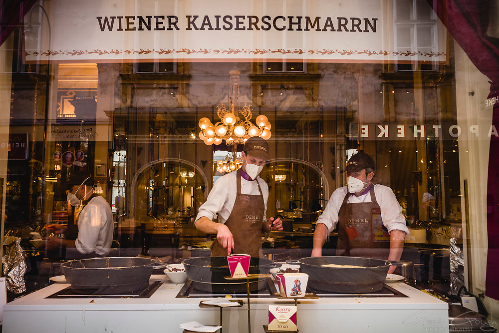 Bakers at the famous Demel Cafe — home of the traditional Austrian dessert, Kaiserschmarrn — wear face masks during the Covid-19 pandemic, Demel Cafe, Vienna, Austria