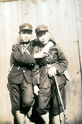 casual portrait of a young students in school uniform Japan ca 1940s