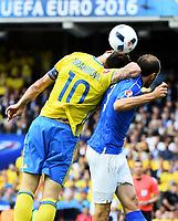 Zlatan Ibrahimovic Sweden, Giorgio Chiellini Italy <br /> Toulouse 17-06-2016 Stade de Toulouse <br /> Football Euro2016 Italy - Sweden / Italia - Svezia Group Stage Group E<br /> Foto Massimo Insabato / Insidefoto