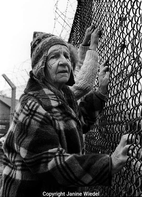 Naomi Mitchison at the anti-nuclear Greenham Common Women's Peace Camp in 1983 / 1984. The women only camp surrounded the RAF  base in Berkshire (UK) where American cruise missiles were being stored.