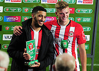 Football - 2020 / 2021 EFL Carabao Cup - Round 4 - Brentford vs Fulham - Brentford Community Stadium<br /> <br /> Brentford  man of the match,Said Benrahma receives his award from Marcus Forss (right)<br /> <br /> COLPORSPORT/ANDREW COWIE