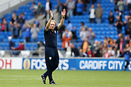 Cardiff city manager Neil Warnock applauds the home fans after his teams 3-0 win at the end of the match as his team go top of the league.EFL Skybet championship match, Cardiff city v Aston Villa at the Cardiff City Stadium in Cardiff, South Wales on Saturday 12th August 2017.<br /> pic by Andrew Orchard, Andrew Orchard sports photography.