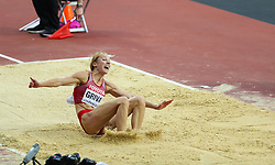 London, August 11 2017 . Lauma Grīva, Latvia, in the women's long jump final on day eight of the IAAF London 2017 world Championships at the London Stadium. © Paul Davey.