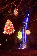 """Ballard Park, Newport, RI. Playfully decorated with lights for the annual winter event, The """"Illuminated Garden"""""""
